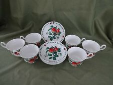 ROY KIRKHAM England Bone China REDOUTE FRUIT Lot of 6 Cups 6 Saucers 1998 MINT