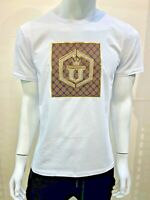New Mens Laverita Short Sleeve Very Slim Fit T-Shirt White Shiny Gold Brown U
