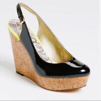Sam Edelman Size 9 Black Mallory Slingback Cork Wedge Heels Shoe