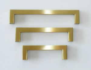 KITCHEN CABINET DRAWER PULL CUPBOARD HOLLOW SQUARE HANDLES - SATIN BRASS