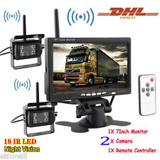 "2Pcs Wireless IR Car Rear View Backup Camera +7"" Monitor for Rv Truck Bus Truck"