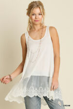 UMGEE Cream/White Embroidered Lace Hem Camisole Tunic Tank Top