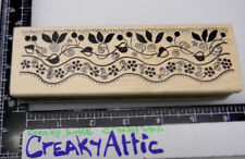 LEAFY LACE VINES BRANCHES BORDER FLOWERS RUBBER STAMP MAGENTA 14.272 P