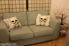 2 TESCHIO Cuscino Cuscino casi copre Halloween Finta Scare SCHELETRO LETTO verso il basso