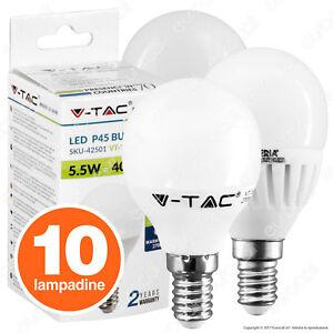 10 LAMPADINE LED attacco E14 V-tac da 3W a 12W Lampadina Mini Globo Sfera Opaca