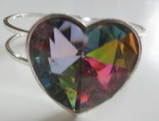Vintage Chunky Blue Heart Rivoli Hinged Cuff Bangle Bracelet