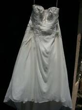 WOMENS PLUS SZ 22 W SLEEVELESS WEDDING DRESS DAVID'S BRIDAL BY OLEG CASSINI LONG