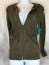 NWT Title Nine Zip Up Hoodie Sweater Size Small in Brown