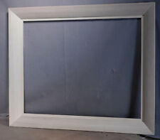 Vintage Modern Abstract painting Picture Frame 16x20 GRAY White Glazed Wood