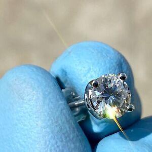 2CT Moissanite Stud Earrings Passes Diamond Test Tester 925 Silver Round 6.5MM