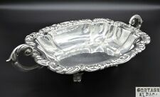 HEAVILY EMBOSSED TWIN HANDLE SERVING DISH BREAD BASKET FRUIT BOWL SILVER PLATED