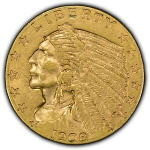 1908 G$2.50 Indian Head Gold Quarter Eagle - High-Grade - Early US Gold -Y1194
