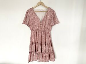 Ally Dress Size 14 Pink Leopard Print Fit & Flare Mini Short Sleeve Elasticated