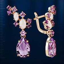 Russian Rose gold 14k/ 585 amethyst, pink quartz earrings NWT stunning AWESOME!!