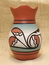 Cedar Mesa Native American Hand Made Pottery Red Feather Sage Navajo Petal Vase