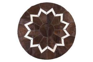 Aydin Original Design Cowhide Patchwork Rug Round Handmade 5'2''X5'2''