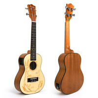 Kmise Concert Electric Acoustic Ukulele Spruce Ukelele Uke Hawaii Guitar 23 inch