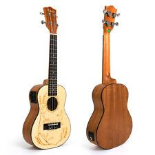 Kmise Concert Electric Acoustic Ukulele Solid Spruce Ukelele Uke Hawaii Guitar