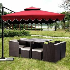 Merax 9PCS Outdoor Rattan Patio Furniture Set Sofa Chair Table Wicker Dining Set