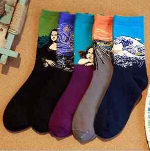 New Vintage Famous Painting Art Socks Novelty Funny Cotton Socks For Women Men