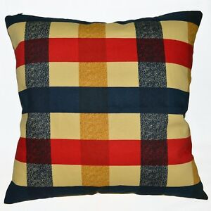 LL317a Blue Red Beige Square Pure Cotton Canvas Fabric Cushion Cover/Pillow Case