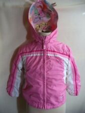 Toddler Girls Insulated Hoodie Pink White Nylon Reversible Poly Butterfly Print