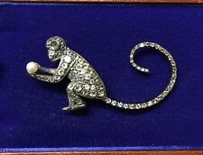 Year Of the Monkey,Ape,Chimp Griffon Brussels Affenpinscher Dog brooch 9ct gems