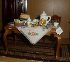 schöner gedeckter Tisch - Kaffeetafel - Miniatur 1:12 Puppenhaus