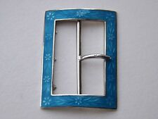 Antique Sterling Silver & Guilloche Enamel Buckle - Birmingham 1911