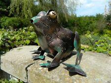 Frog Tea Light Holder Garden Lantern Metal Standing Frog - 'Copper' Vert De Gris