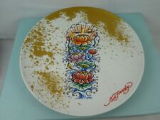 """More details for ed hardy pacific rim dinnerware 8"""" lunch / salad plate, very hard to find!"""