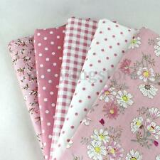 5 PCS Assorted Pre-Cut Plain 100% Cotton Quilt Cloths Fabrics For Sewing Pink