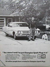 3/1972 PUB CHAMPION SPARK PLUGS BOUGIES CHEVY FORD ROBERT TANK OMAHA AD