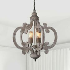 4 Lights Pendant Vintage Farmhouse Chandelier Rustic Dining Room Bedroom Fixture