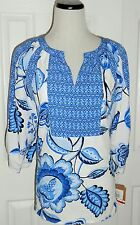 New ELLEN TRACY Blue & White Polyester Split Neck 3/4 Sleeve Peasant Top, Small