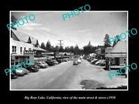 OLD LARGE HISTORIC PHOTO OF BIG BEAR LAKE CALIFORNIA, THE MAIN St & STORES c1950