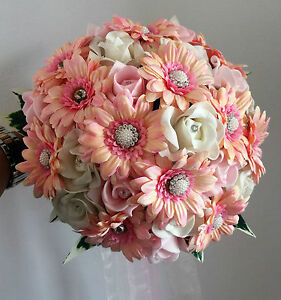 Pink 2-tone gerberas and roses Brides Wedding Bouquet with gems Stunning
