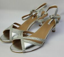 Zapatos de Novia Noche Sandalias Danza Plata Tiras con Brillo Ta 10-011