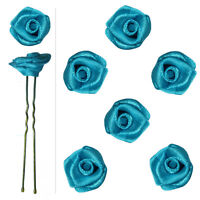 6 épingles pics cheveux chignon mariage mariée danse roses satin Bleu clair azur