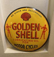 VINTAGE OLD GOLDEN SHELL PORCELAIN SIGN GAS OIL LUBRICATE MOTOR PUMP PLATE RARE