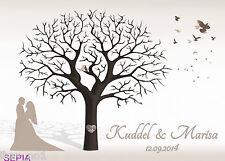 Fingerabdruck Hochzeitsbaum Leinwand Weddingtree Sepia neutral 60x40 Motiv18