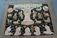 "Vintage Thai Burma Embroidery Kalaga Sequin Tapestry Pictorial Myanmar 54"" x 82"""
