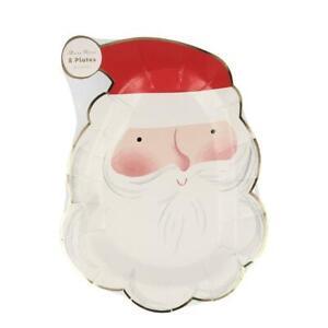 MERI MERI CHRISTMAS Jolly Santa Shaped Plates - Eco Friendly (8 Pack)
