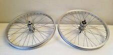 silver aluminum 20 x 1.75 old school BMX wheel set 3/8 axles nice used wheels 36