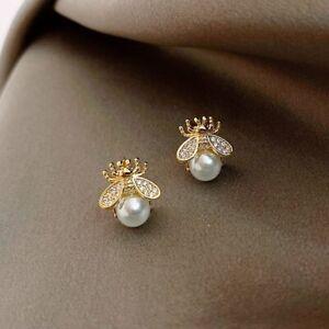 Fashion Cute Crystal Bee Pearl Ear Stud Earrings Women Girl Daily Jewellery Gift