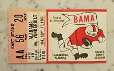 Alabama Crimson Tide Vanderbilt Commodores Football Ticket Stub 9/27 1980 Bryant