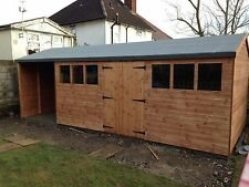22 x 8 Wooden Shed/Workshop (16x8 Shed + 6ft Open Store ) T&G Timber Cladding