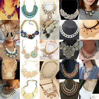 Womens Bohemian Pendant Chain Chunky Collar Statement Bib Necklace Charm Jewelry