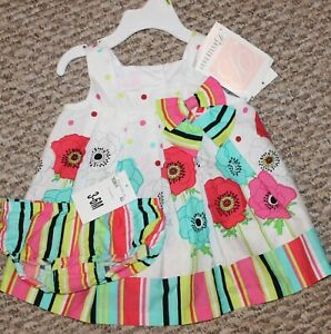 New! Girls Bonnie Baby Summer Dress (Flowers; Striped; White/Pink) - Size 3-6 mo