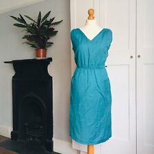Vintage 80s Teal Green Linen V Neck Dress Pockets 12 14